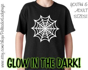 Halloween Glow in the Dark Spider Web - Custom T-shirt - Heat Transfer Vinyl