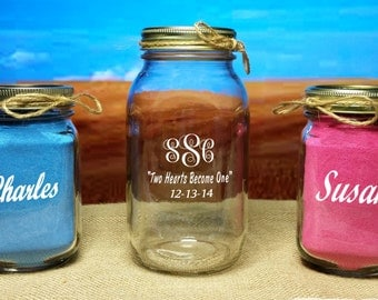 Sand Unity Ceremony, Redneck 3 Piece set - WITHOUT SAND - Monogrammed - Mason Jars - wedding