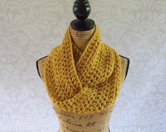 Infinity Scarf Crochet Knit Mustard Yellow Women's Accessories Eternity Fall Winter