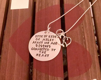 Sisters Necklace-Connected at the Heart-Sisters Gift Handstamped Custom Jewelry