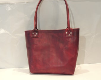 Leather Tote / Oxblood Red / Handmade