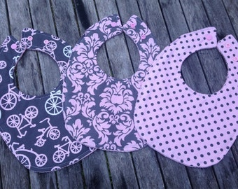 Baby Bib - Michael Miller Gray with Pink Bicycles, Dandy Damask & Dumb Dot