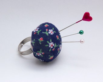 Pincushion Ring - Vintage Navy Floral Fabric - Pin Cushion Ring - Sewing Jewelry - Pin Cushion Ring - Wearable Pincushion - Blue floral