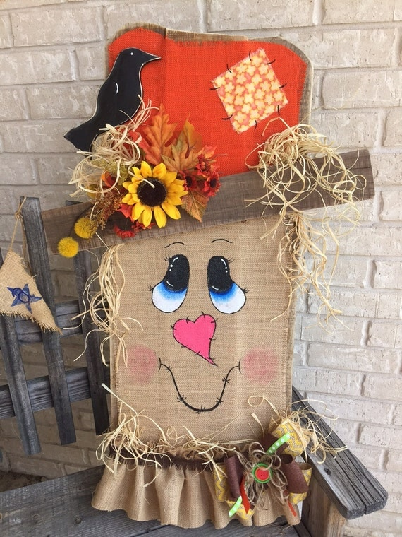 Painted Wooden Scarecrow Face
