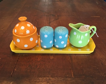 Colorful Polka Dot 5 piece set with tray