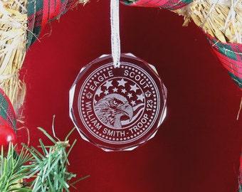 Custom Crystal Eagle Scout Ornament