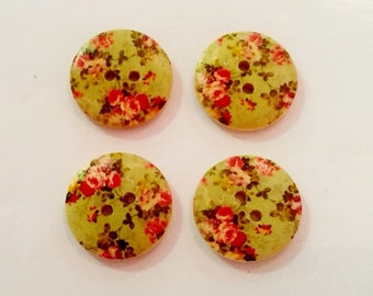 4 x 30mm Shabby chic green floral buttons