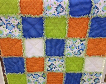 Baby Rag Quilt, Baby Quilt, Crib Quilt, Toddler Blanket, Nursery Bedding, Owl Quilt, Lime Green, Orange, Blue, Handmade, Ready to Ship