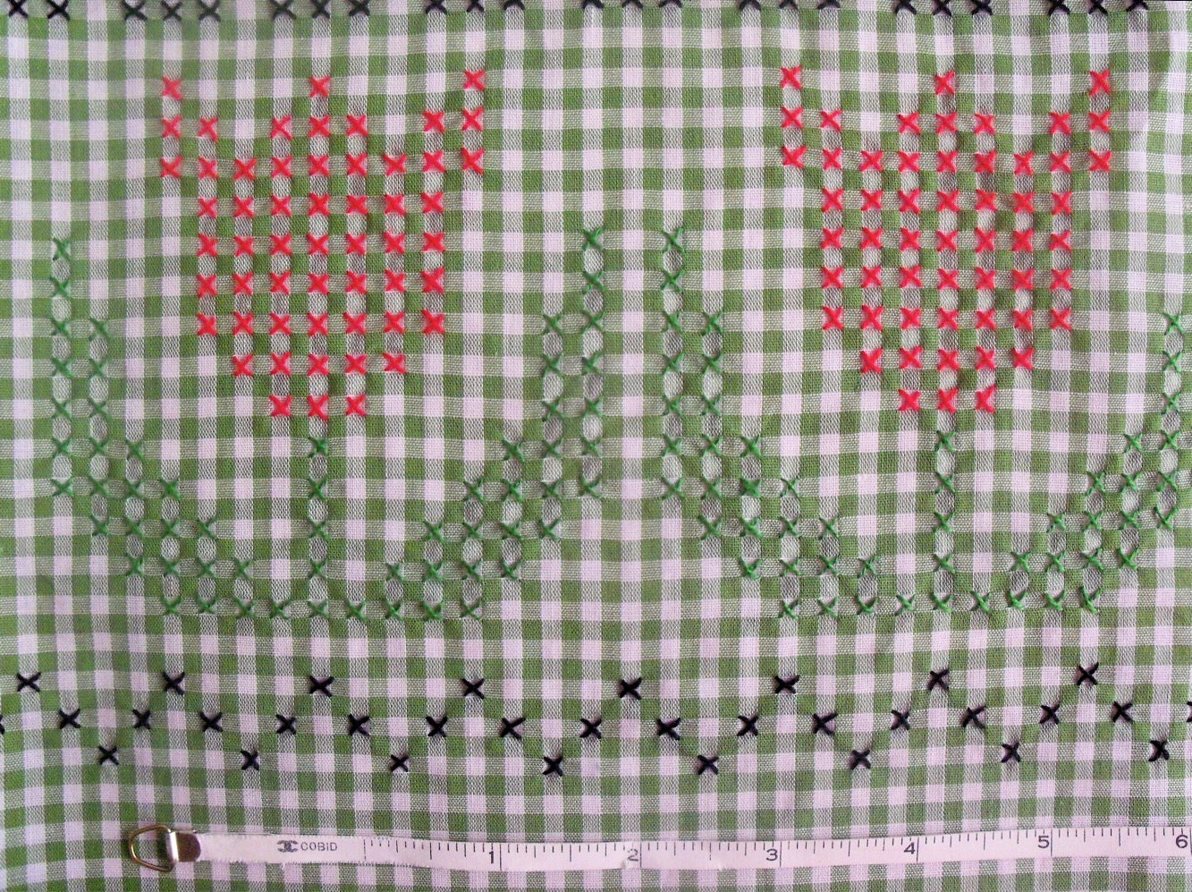 Vintage s embroidered cross stitch olive green gingham