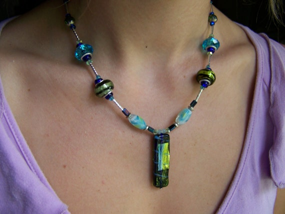 Dichroic Glass Rectangle Pendant Necklace, Green black striped aqua Beaded Necklace, #46