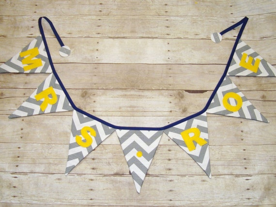 Chevron Name Banner / Fabric Bunting / Name Flags / Pennants / Grey chevron name banner / party bunting -Chevron Bunting - Fabric Banner