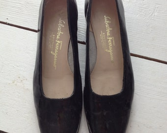 Vintage Salvatore Ferragamo Black Patent Leather Flats
