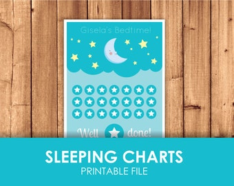 Good Sleeping Moon Reward Chart Download / Sleeping chart / Bedtime routine / Learn to sleep / Bed stars / Printable File