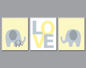 Baby Elephant wall art, Elephant Nursery Prints. Suits Yellow And Gray Nursery Decor - Set of 3 prints, N520,521,522 - Custom Color