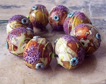 Indian summer. Handmade Hollow Lampwork Beads (1 pc) Ivory, Silvered Yellow and Orange, Purple, Turquoise, Yellow-Green. Made to order.