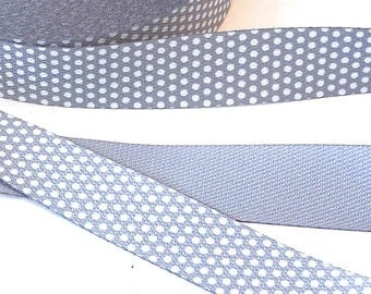 Webbing 3 cm little dots grey