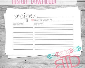 Recipe Card, Printable Recipe Card, Instant Download, Kitchen Decor, Customizable Recipe Card, 4x6 Recipe Cards, Kitchen Cook Book,