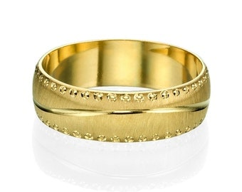 6mm Rounded Modern Men's Wedding Band Yellow Gold