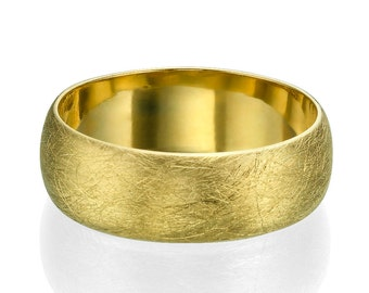 7.2mm Wide 14k Yellow Gold Rounded Scratched Pattern Men's Wedding Ring