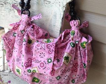 Handmade John Deere Pink Boho Purse, Tote or Bag
