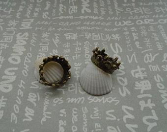 50pcs antique bronze color metal crown charm , metal crown pendant  18x8mm , CP815