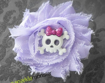 Lavender Kiddie Skull and Crossbones Shabby Hair Flower
