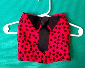 Pet Shirt and Tie, Dog Shirt and Tie, Pet Clothing, Dog Clothing, Red Dog Top, Pawprint Pet Top, Mock Shirt for Pet, Velcro Pet Shirt