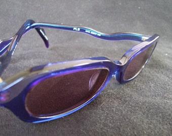 Vintage Martine Sitbon Blue Iridescent Sunglasses , Designer Shades in Violet Blue.