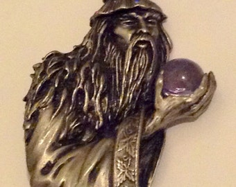 Vintage Large signed JJ Pewter And Rhinestone Wizard Brooch