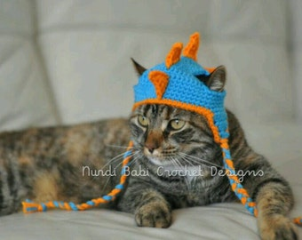 Cat Hat Dinosaur Spike Bright Colored Pet Hat Made to Order