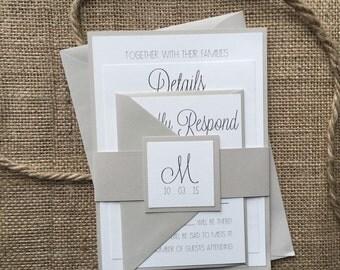 Modern Gray Wedding Invitation, Simple & Elegant
