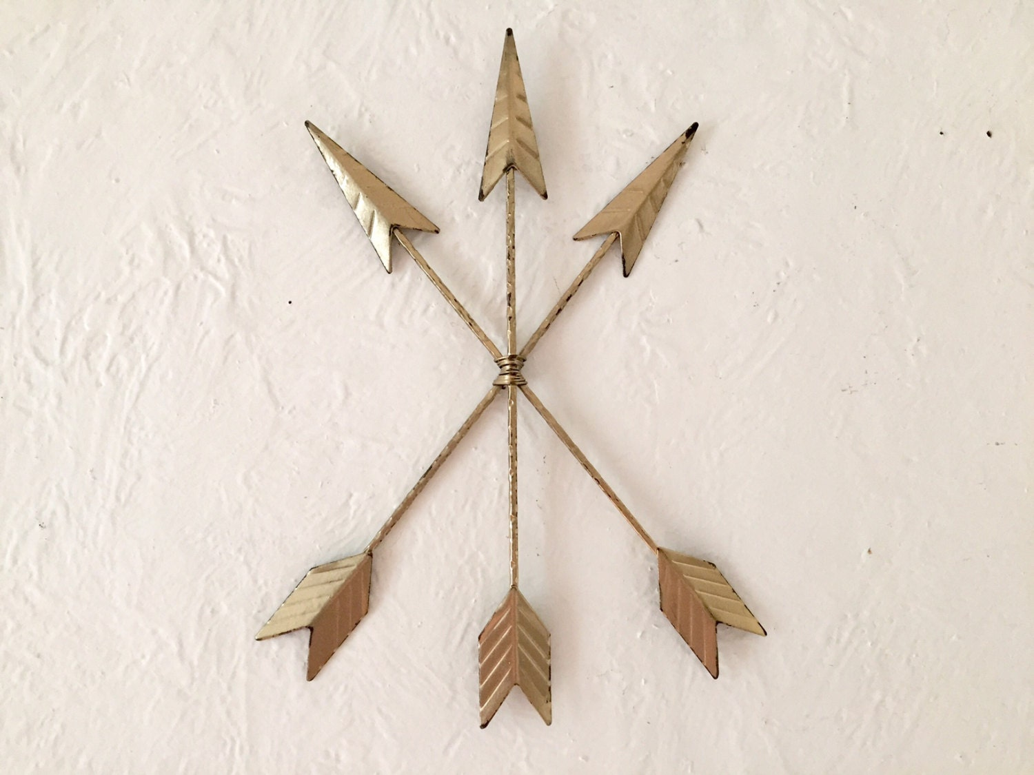 Distressed Metal Wall Decor : Arrows wall decor tribal metal distressed in gold