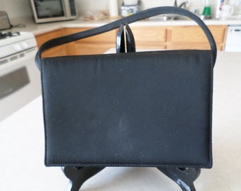 Vintage 1960's Black Satin Evening Bag