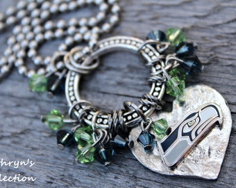 Seattle Seahawks Necklace, Seahawks Jewelry, Seahawks Fan Gift