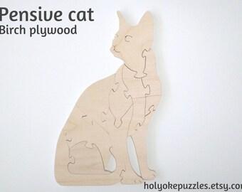 Pensive Cat Wooden Color-Your-Own Puzzle