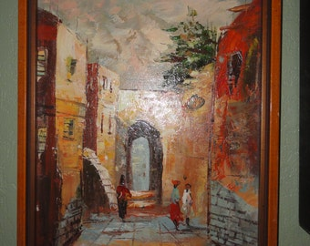 Adorable Retro Well Done Expressionist Small Oil Painting Framed Very Cool