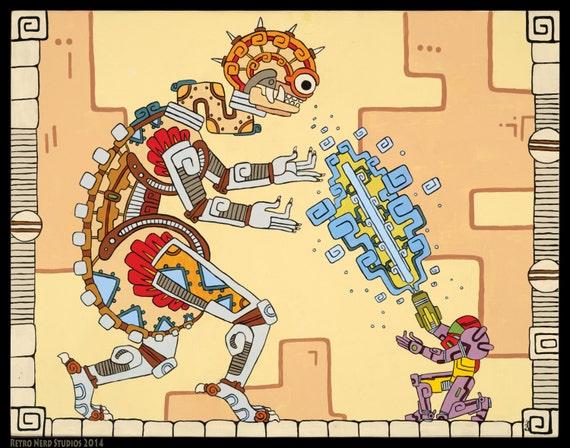 "Samus vs Mother Brain, Super Metroid Inspired Art Prints, ""Mayan Mother"", 16x20 or 11x14 art print, Poster, Mayan, Maya, Classic, Retro"