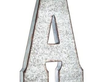Large Galvanized Vintage Metal Letter
