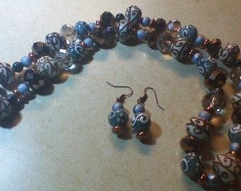 Copper and Blue Necklace and Earrings