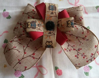 Autumn Owl Hair Bow