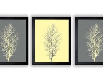 Grey Gray Yellow Tree Wall Decor Tree Print Set of 3 Trees Abstract Art Modern Minimalist Print Tree Bathroom