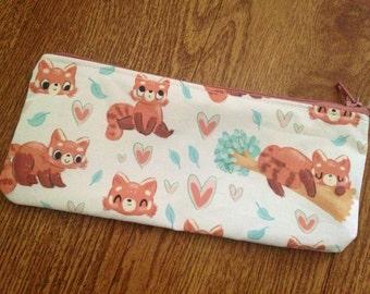 Cute Red Panda Zip Pouch / Pencil Case