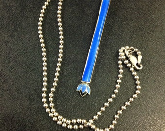 Upcycled sterling silver enamel pendant on ball chain