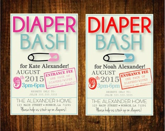 Diaper Bash Baby Shower Diaper Shower Party Invitation Customizable Printable