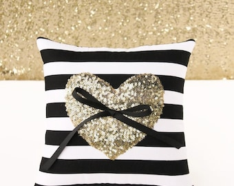 Ring Bearer Pillow, Gold Sequin Heart on Black and White Stripe. 10 in. x 10 in.