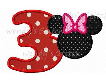 mouse minnie 3 machine embroidery design applique instant download