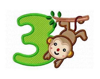 monkey birthday applique number 3 machine embroidery design