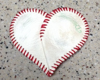 Baseball Heart. Authentic leather skin! Scrapbook, frame, decor, mom, love.
