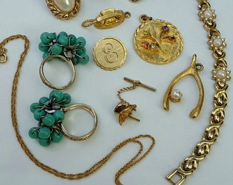 Lot of Gold Tone Jewelry circa 1960s-1990s