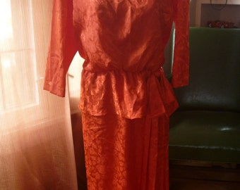 80s Dress Orange Petite
